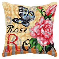 """Набор для вышивания Подушка OR9556 """"Бабочка и розовые розы"""" 40х40см """"Orchidea"""""""