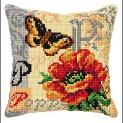 """Набор для вышивания Подушка OR9557 """"Бабочка и мак"""" 40х40см """"Orchidea"""""""