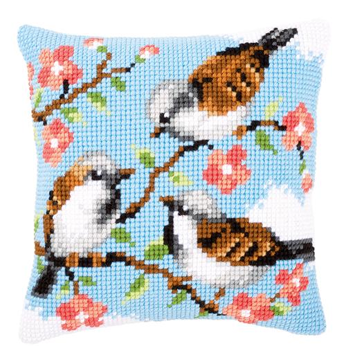 Вышивка крестом подушки с птицами 114