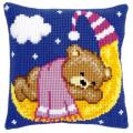 """Набор для вышивания Подушка """"Мишка на луне в розовом"""" 40х40см """"Vervaco"""""""