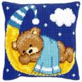 """Набор для вышивания Подушка """"Мишка на луне в голубом"""" 40х40см """"Vervaco"""""""