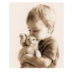 """Набор для вышивания """"Мальчик с котенком"""" """"Vervaco"""""""