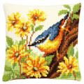 "Набор для вышивания Подушка ""Птица в желтых цветах"" 40х40см ""Vervaco"""