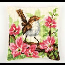 """Набор для вышивания Подушка """"Птица в розовых цветах"""" 40х40см"""