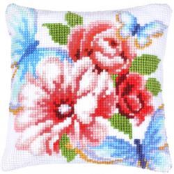 """Набор для вышивания Подушка """"Цветы и мотыльки"""" 40х40см"""