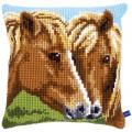 """Набор для вышивания Подушка """"Лошади"""" 40х40см """"Vervaco"""""""