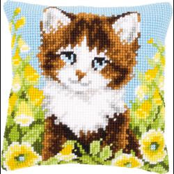 """Набор для вышивания Подушка """"Котенок в желтых цветах"""" 40х40см"""