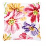 """Набор для вышивания Подушка """"Красочные цветы на белом"""" 40х40см """"Vervaco"""""""