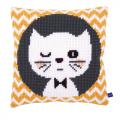 """Набор для вышивания Подушка """"Подмигивающий котенок"""" 40х40см """"Vervaco"""""""