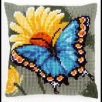 "Набор для вышивания Подушка ""Бабочка и желтый цветок"" 40х40см ""Vervaco"""