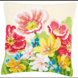"""Набор для вышивания Подушка """"Летние цветы"""" 40х40см"""