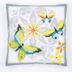 """Набор для вышивания Подушка """"Бабочки и цветы"""" 40х40см"""