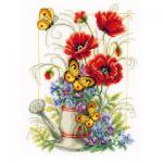 """Набор для вышивания """"Лейка с цветами и бабочками"""" """"Vervaco"""""""