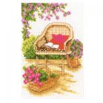 """Набор для вышивания Миниатюра """"Отдых в саду. Кресло"""" """"Vervaco"""""""
