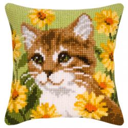 """Набор для вышивания Подушка """"Кошка в жёлтых цветах"""" 40х40см """"Vervaco"""""""