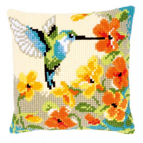 Вышивка крестом подушки с птицами 426