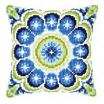 """Набор для вышивания Подушка """"Сине-зеленый узор Снежинка"""" 40х40см """"Vervaco"""""""