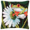 "Набор для вышивания Подушка ""Лягушка и цветок"" 40х40см ""Vervaco"""