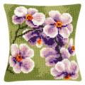 """Набор для вышивания Подушка """"Орхидея на зеленом"""" 40х40см """"Vervaco"""""""