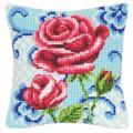 """Набор для вышивания Подушка """"Роза на голубом"""" 40х40см """"Vervaco"""""""
