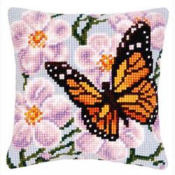 """Набор для вышивания Подушка """"Бабочка и орхидеи на голубом"""" 40х40см """"Vervaco"""""""