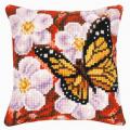 """Набор для вышивания Подушка """"Бабочка и орхидеи на красном"""" 40х40см """"Vervaco"""""""
