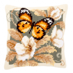 "Набор для вышивания Подушка ""Жёлтая бабочка"" 40х40см"