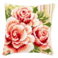 """Набор для вышивания Подушка """"Розовые розы 1"""" 40х40см """"Vervaco"""""""