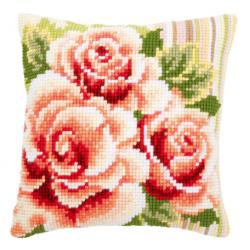 """Набор для вышивания Подушка """"Розовые розы 1"""" 40х40см"""
