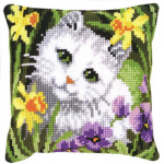 """Набор для вышивания Подушка """"Белая кошка в нарциссах"""" 40х40см """"Vervaco"""""""