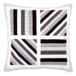 """Набор для вышивания Подушка """"Чёрно-белые линии"""" 40х40см """"Vervaco"""""""