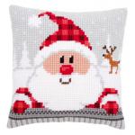 """Набор для вышивания Подушка """"Санта в клетчатой шапке"""" 40х40см """"Vervaco"""""""