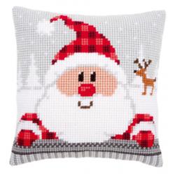 """Набор для вышивания Подушка """"Санта в клетчатой шапке"""" 40х40см"""