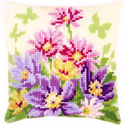 """Набор для вышивания Подушка """"Цветы в пастельных тонах"""" 40х40см"""