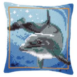 """Набор для вышивания Подушка """"Дельфин на глубине"""" 40х40см"""