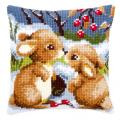 """Набор для вышивания Подушка """"Кролики на снегу"""" 40х40см """"Vervaco"""""""