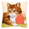 """Набор для вышивания Подушка """"Кошка с клубком"""" 40х40см """"Vervaco"""""""