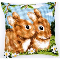 """Набор для вышивания Подушка """"Пара кроликов"""" 40х40см"""