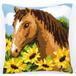"""Набор для вышивания Подушка """"Лошадь в подсолнухах"""" 40х40см"""