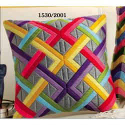 """Набор для вышивания Подушка """"Цветные диагонали на сером"""""""