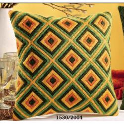 """Набор для вышивания Подушка """"Желто-зеленая клетка"""" 40х40см"""