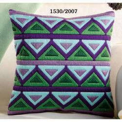 """Набор для вышивания Подушка """"Зелено-сиреневые треугольники"""""""