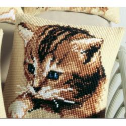 """Набор для вышивания Подушка """"Голубоглазый котенок"""" 40х40см"""