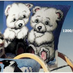 """Набор для вышивания Подушка """"Белые медвежата"""" 40х40см"""