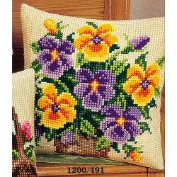 """Набор для вышивания Подушка """"Желтые и фиолетовые виолы"""""""