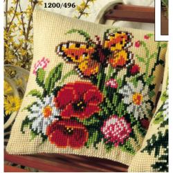 """Набор для вышивания Подушка """"Бабочка и букет"""" 40х40см"""