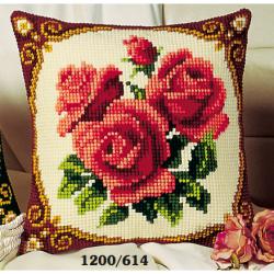 """Набор для вышивания Подушка """"Трио роз"""" 40х40см"""