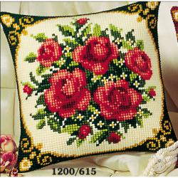"Набор для вышивания Подушка ""Букет роз"" 40х40см"