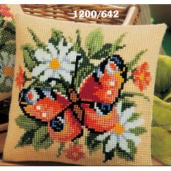 """Набор для вышивания Подушка """"Бабочка в ромашках"""" 40х40см"""