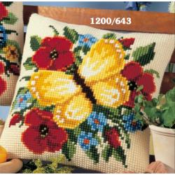 "Набор для вышивания Подушка ""Желтая бабочка"" 40х40см"